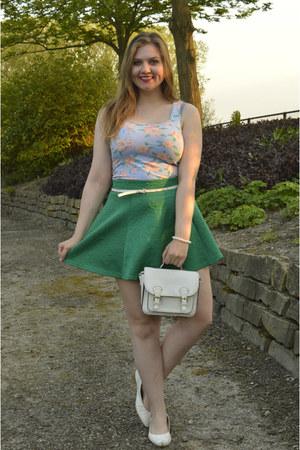 white purse - green skirt - white belt - white pumps - white bracelet