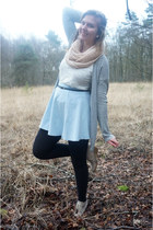 light pink scarf - white lace top - light blue skirt - beige wedges