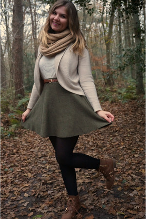 brown boots - camel scarf - army green skirt - beige cardigan - white lace top