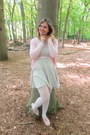Silver-dress-white-tights-light-pink-cardigan-light-pink-pumps