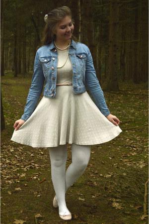 white tights - silver dress - sky blue denim jacket - peach belt - peach flats