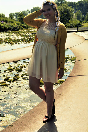 cream dress - gold cardigan - bronze loafers - white hair accessory