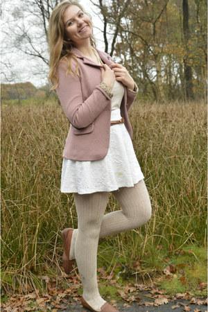 pink blazer - beige tights - beige top - white skirt - bronze loafers