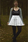 Black-tights-silver-cardigan-white-skirt-black-top-black-pumps
