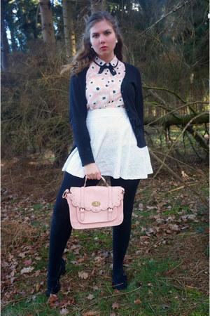 light pink purse - light pink blouse - white skirt - black pumps