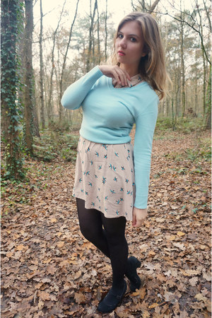 black tights - eggshell dress - light blue sweater - black pumps