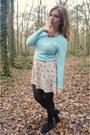 Eggshell-dress-light-blue-sweater-black-tights-black-pumps