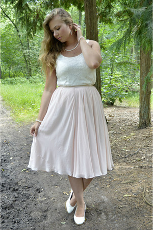 light pink skirt - light pink bracelet - white heels - white top