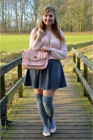 light pink sweater - light pink purse - heather gray socks - periwinkle necklace