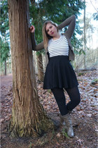 black skirt - forest green boots - white striped top - forest green cardigan