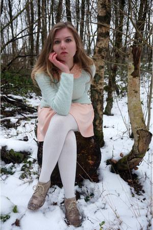 peach dress - aquamarine sweater - white tights - tan wedges