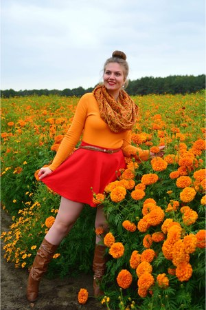 brown boots - light orange scarf - orange top - red skirt - brown belt