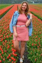 white shoes - red dress - sky blue denim jacket - white belt