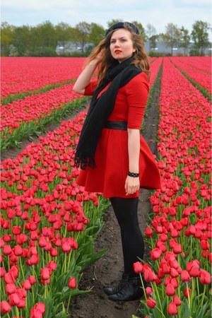 black boots - red dress - black hat - black scarf - black belt