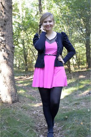 hot pink dress - black tights - black cardigan - black pumps - black belt