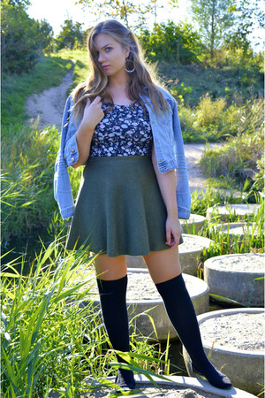 black over the knee socks - sky blue denim jacket - black top - dark green skirt