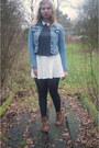 Brown-boots-turquoise-blue-denim-jacket-navy-tights-navy-polka-dots-top