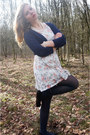 White-floral-dress-navy-tights-black-flats-navy-cardigan-white-necklace