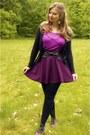 Amethyst-top-magenta-skirt-black-cardigan-black-belt-amethyst-flats