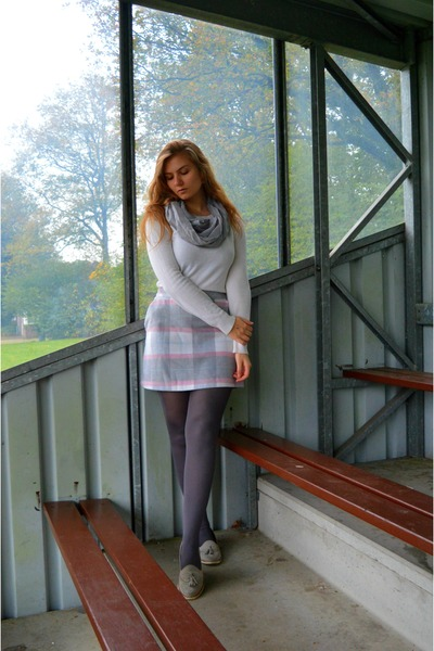 silver scarf - white sweater - charcoal gray tights - silver loafers