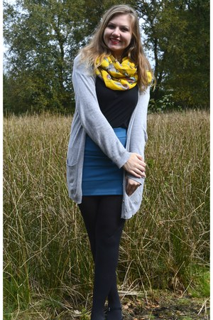 black tights - gold scarf - turquoise blue skirt - silver cardigan - black top