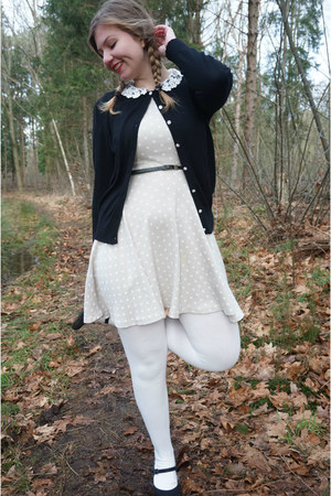 black cardigan - silver polka dot dress - white tights - black pumps