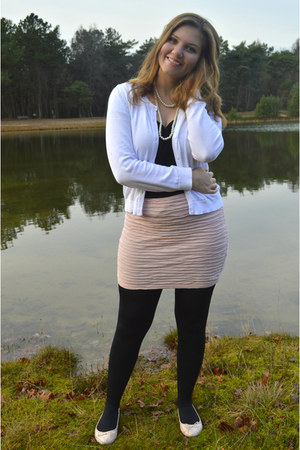 light pink skirt - black tights - black top - white cardigan - white necklace