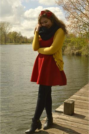 black boots - red dress - black scarf - black belt - gold cardigan