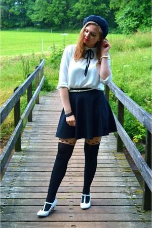 black hat - black tights - black skirt - white pumps - white belt - white blouse