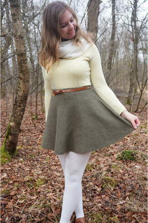 brown shoes - light yellow sweater - white tights - white scarf