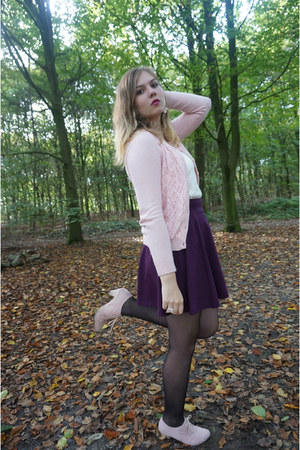 magenta skirt - light pink boots - white lace top - light pink lace cardigan
