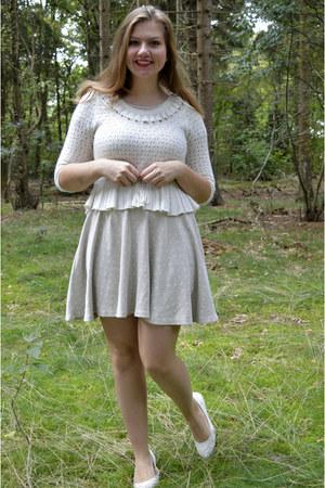 white sweater - silver dress - white pumps