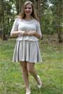 Silver-dress-white-sweater-white-pumps