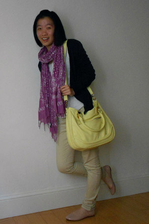 light yellow Aldo bag - cream shirt - amethyst American Eagle scarf