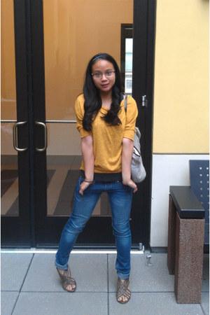 navy indigo rein jeans - mustard One Clothing blouse - brown merona sandals