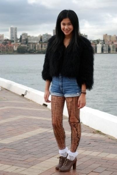 Topshop coat - josh goot top - bik bok jeans shorts - miss pervy from etsy tight