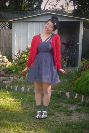 red Cocolatte cardigan - blue ecote dress - gray unknown brand socks - white tee