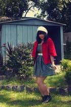 white thrifted belt - black belle boots - green H&M dress - red Ladakh coat