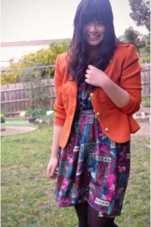 orange vintage blazer - green handmade dress
