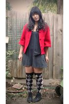 red Ladakh coat - gray cotton on dress - gray brandless socks - black belle boot
