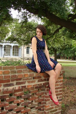 blue Sally Ann dress - red thrifted shoes