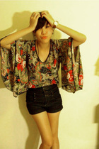 vintage top - Topshop shorts