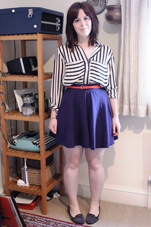 OASAP shirt - skater H&M skirt - studded new look flats
