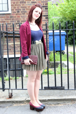 burgundy new look blazer - burgundy vintage bag - River Island skirt