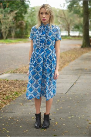 the biker madewell boots - blue ruffled thrifted vintage dress