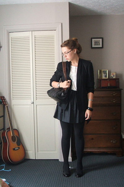 thrifted blazer - H&M blouse - Express skirt - Hand-Me-Down from Grandma purse