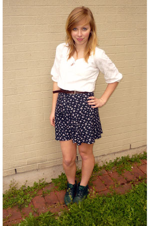 green Danexx shoes - white shirt - blue skirt - brown belt