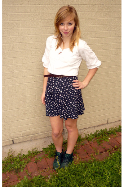 green danexx shoes white shirts blue skirts brown belts