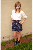 green Danexx shoes - white shirt - blue skirt - brown belt