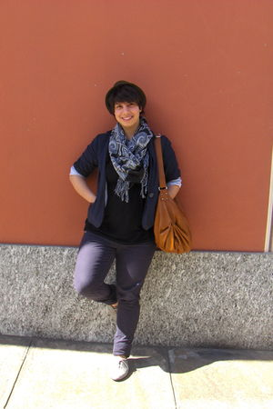 gray c&a blazer - brown H&M hat - gray H&M shoes - brown Italian market purse